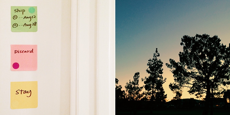 prep for moving / evening sky